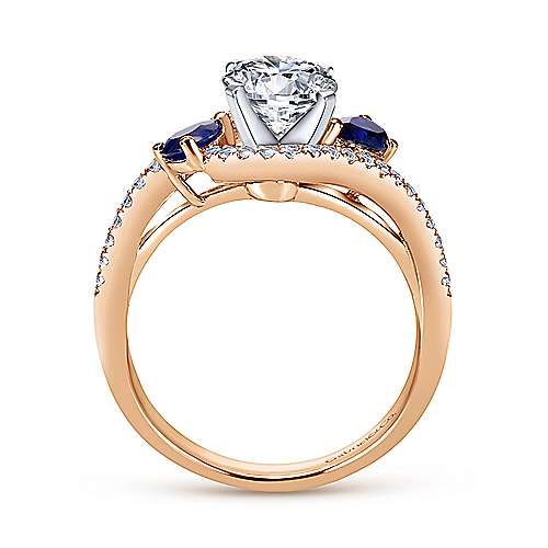 14k White/pink Gold Diamond  And Sapphire Bypass Engagement Ring angle 2
