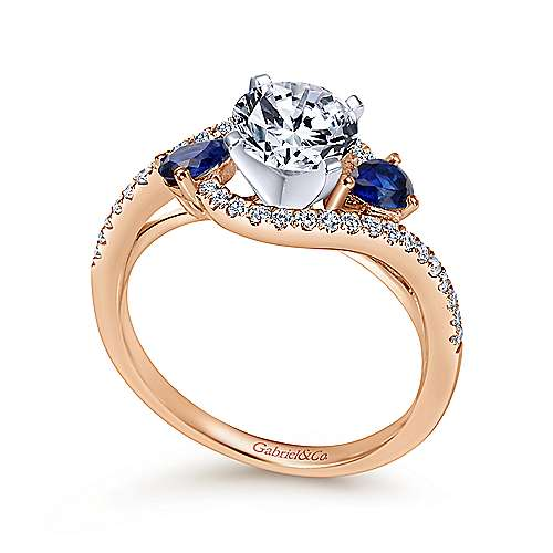 14k White/pink Gold Diamond  And Sapphire Bypass Engagement Ring angle 3
