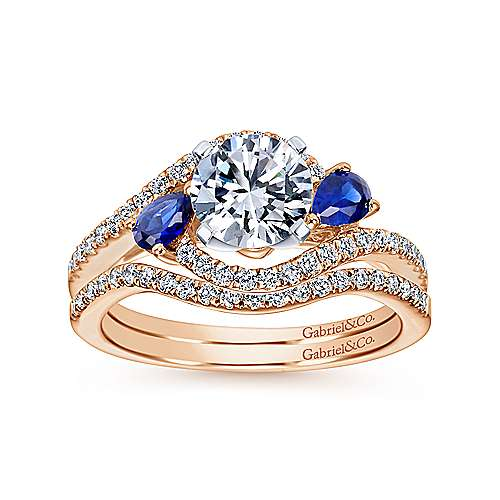 14k White/pink Gold Diamond  And Sapphire Bypass Engagement Ring angle 4
