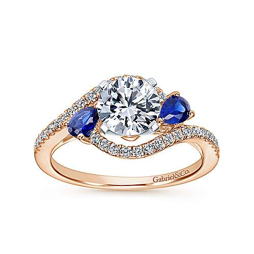 14k White/pink Gold Diamond  And Sapphire Bypass Engagement Ring angle 5