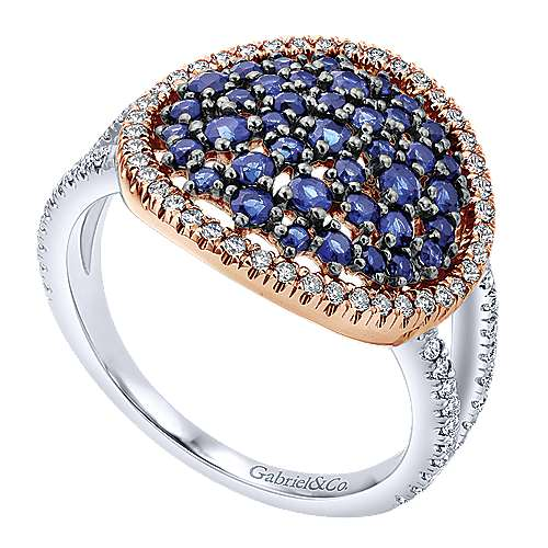 14k White/pink Gold Diamond  And Sapphire Fashion Ladies