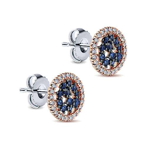 14k White/pink Gold Diamond  And Sapphire Stud Earrings angle 2