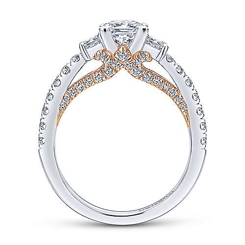14k White/pink Gold Diamond 3 Stones Engagement Ring angle 2