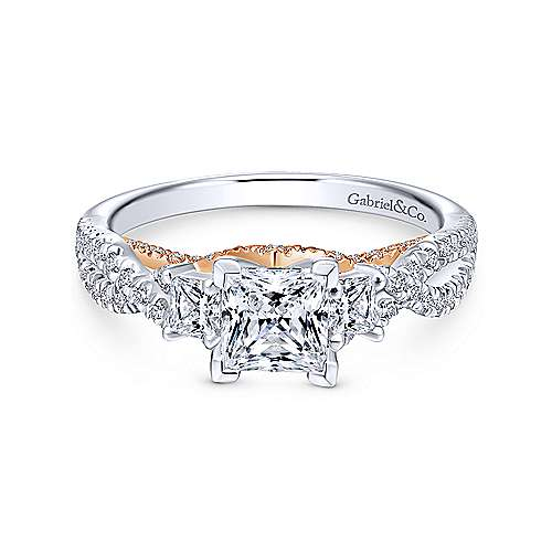 Gabriel - 14k White/pink Gold Princess Cut 3 Stones Engagement Ring