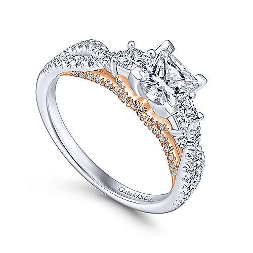 14k White/pink Gold Diamond 3 Stones Engagement Ring angle 3