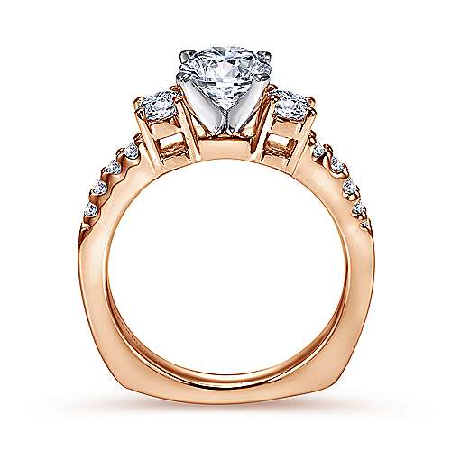 14k White/pink Gold Diamond 3 Stones Engagement Ring angle 2