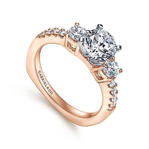 14k White/pink Gold Diamond 3 Stones Engagement Ring angle 3
