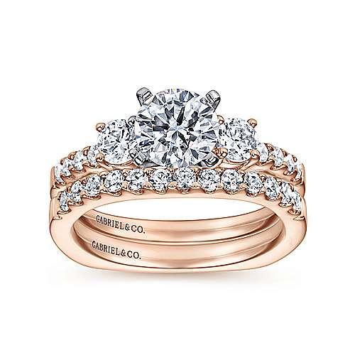 14k White/pink Gold Diamond 3 Stones Engagement Ring angle 4