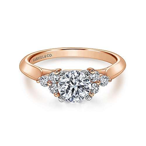 Gabriel - 14k White/pink Gold Round 3 Stones Engagement Ring