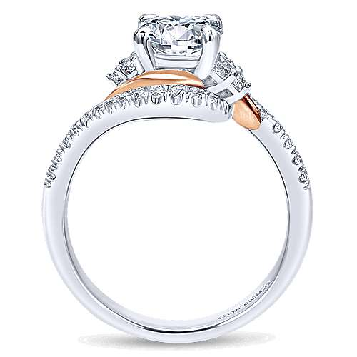 14k White/pink Gold Diamond Bypass Engagement Ring angle 2