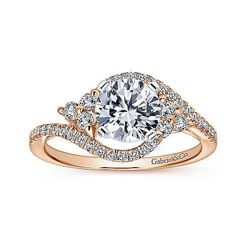 14k White/pink Gold Diamond Bypass Engagement Ring angle 5