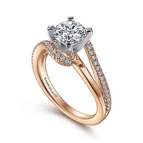 14k White/pink Gold Diamond Bypass Engagement Ring angle 3