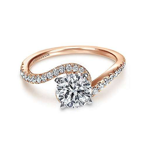14k White/pink Gold Diamond Bypass Engagement Ring angle 1