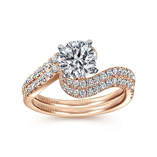 14k White/pink Gold Diamond Bypass Engagement Ring angle 4