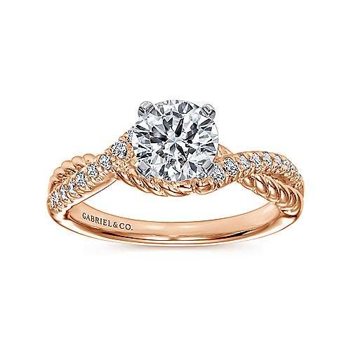 14k White/pink Gold Diamond Criss Cross Engagement Ring angle 5