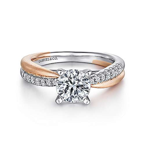 14k White/pink Gold Diamond Criss Cross Engagement Ring angle 1