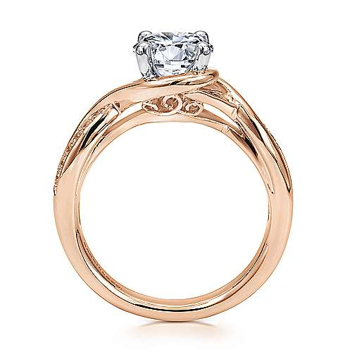 14k White/pink Gold Diamond Criss Cross Engagement Ring angle 2