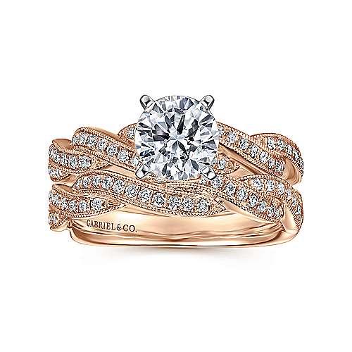 14k White/pink Gold Diamond Criss Cross Engagement Ring angle 4