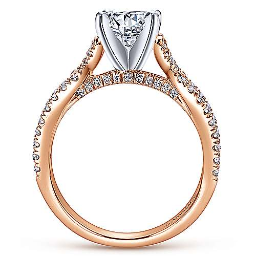 14k White/pink Gold Diamond Criss Cross Engagement Ring angle 2
