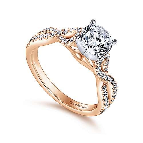 14k White/pink Gold Diamond Criss Cross Engagement Ring angle 3