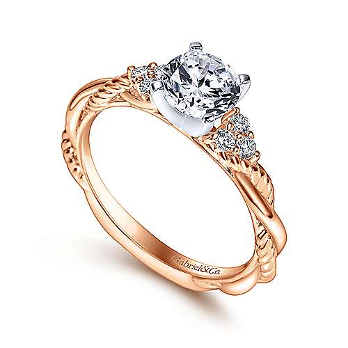14k White/pink Gold Diamond Criss Cross Engagement Ring angle 3