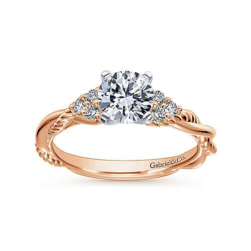 14k White/pink Gold Diamond Criss Cross Engagement Ring angle 5