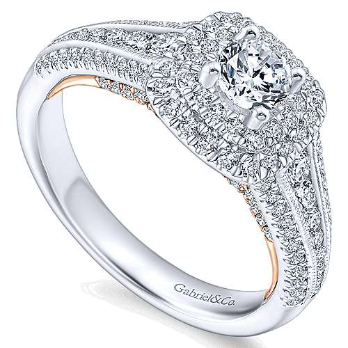 14k White/pink Gold Diamond Double Halo Engagement Ring angle 3