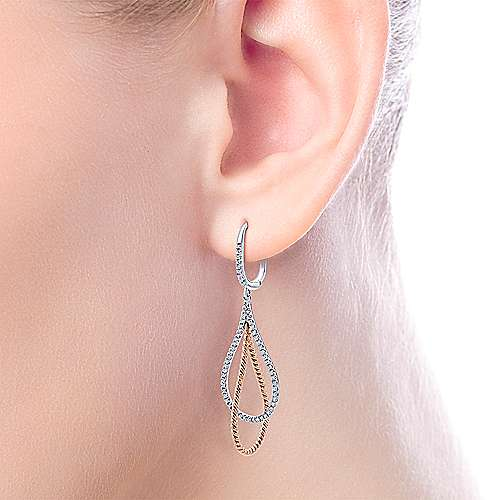 14k White/pink Gold Diamond Drop Earrings angle 2