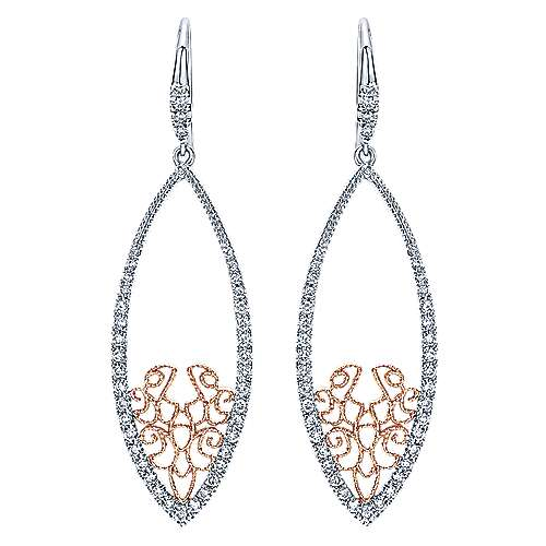 Gabriel - 14k White/pink Gold Flirtation Drop Earrings