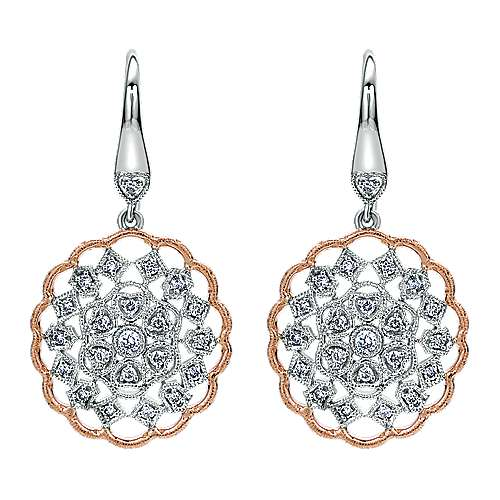 Gabriel - 14k White/pink Gold Victorian Drop Earrings