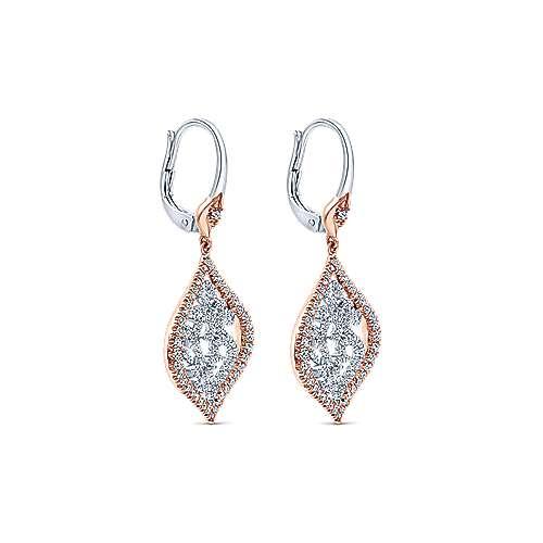 14k White/pink Gold Diamond Drop Earrings angle 2