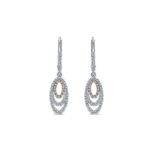 Gabriel - 14k White/pink Gold Lusso Diamond Drop Earrings