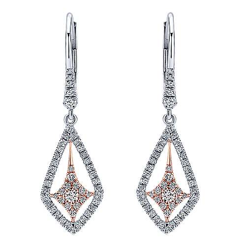 14k White/pink Gold Diamond Drop Earrings angle 1