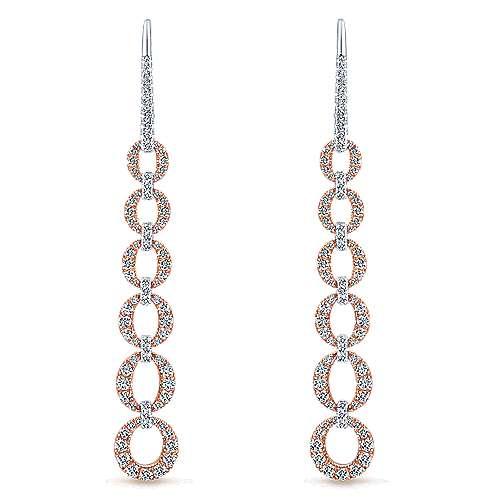 Gabriel - 14k White/pink Gold Lusso Diamond  Drop Earrings
