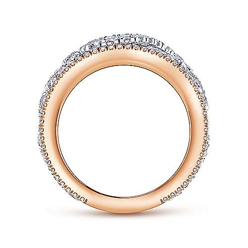 14k White/pink Gold Diamond Fancy Anniversary Band angle 2