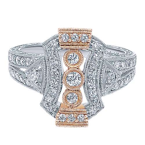 Gabriel - 14k White/pink Gold Victorian Fashion Ladies' Ring