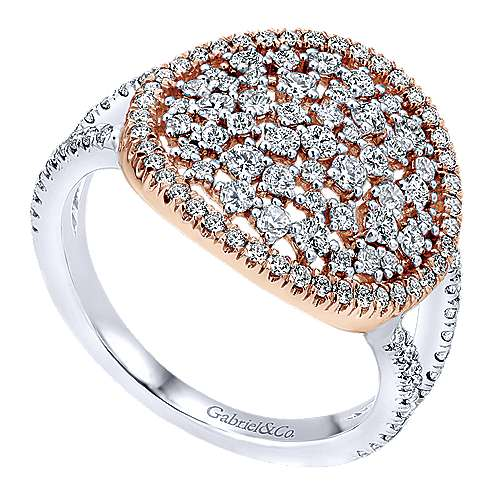 14k White/pink Gold Diamond Fashion Ladies