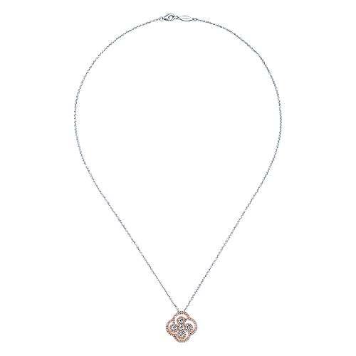 14k White/pink Gold Diamond Fashion Necklace angle 2