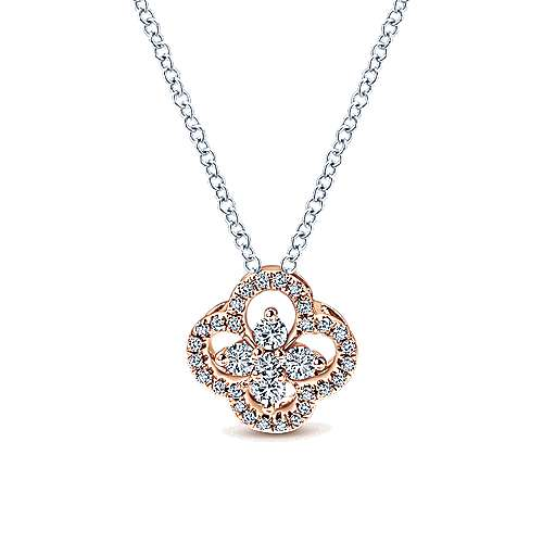 14k White/pink Gold Diamond Fashion Necklace angle 1