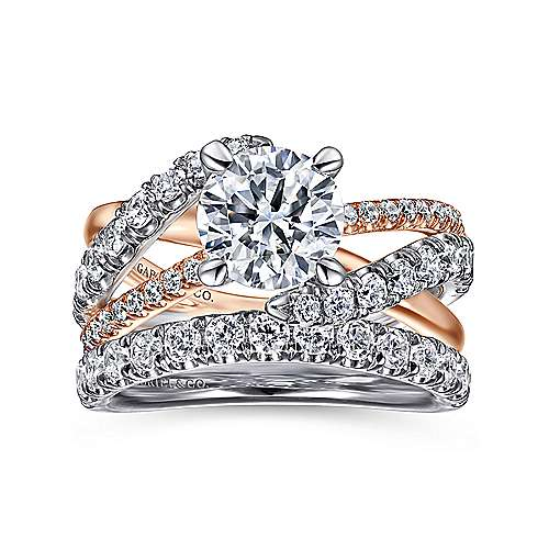 14k White/pink Gold Diamond Free Form Engagement Ring angle 4