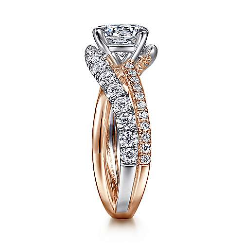 14k White/pink Gold Diamond Free Form Engagement Ring angle 5