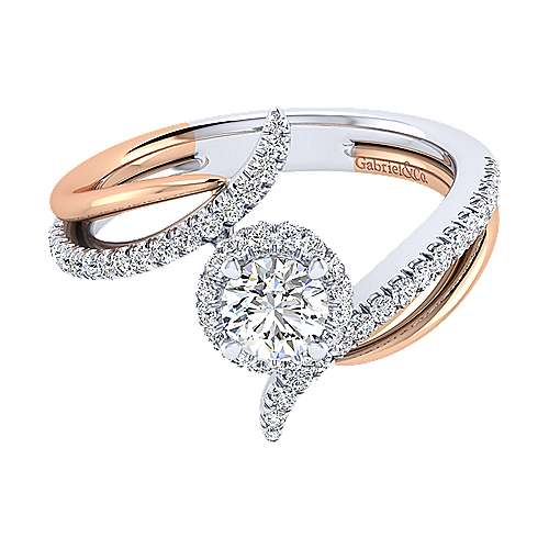 Gabriel - 14k White/pink Gold Round Halo Engagement Ring
