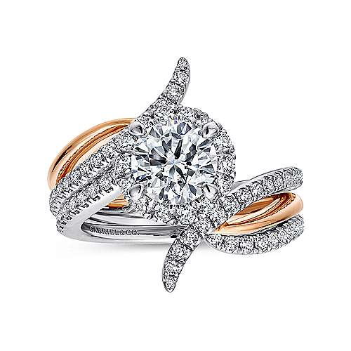 14k White/pink Gold Diamond Halo Engagement Ring angle 4