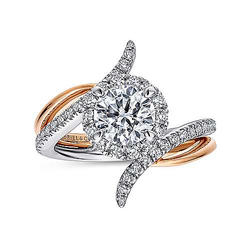 14k White/pink Gold Diamond Halo Engagement Ring angle 5