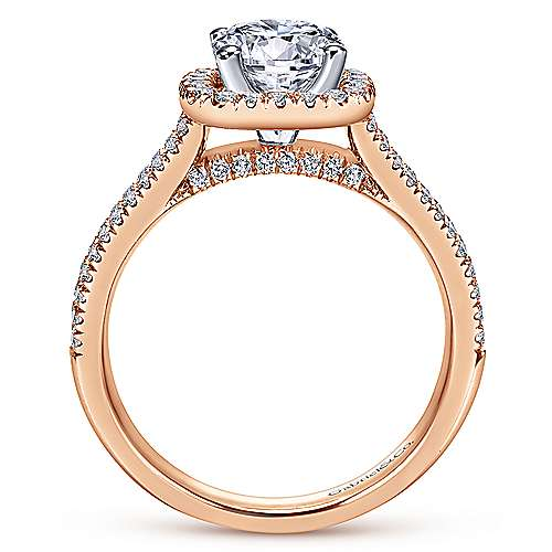 14k White/pink Gold Diamond Halo Engagement Ring angle 2