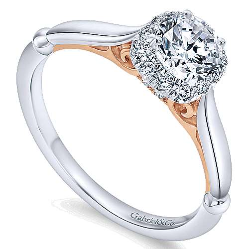 14k White/pink Gold Diamond Halo Engagement Ring angle 3