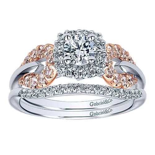 14k White/pink Gold Diamond Halo Engagement Ring angle 4