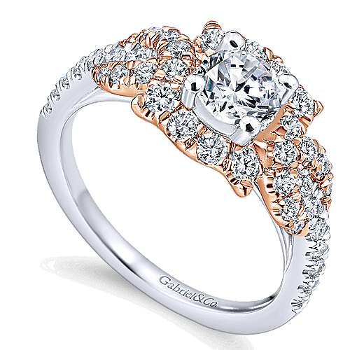 14k White/pink Gold Diamond Halo Engagement Ring angle 3