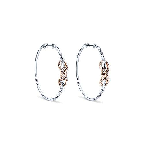 14k White/pink Gold Diamond Intricate Hoop