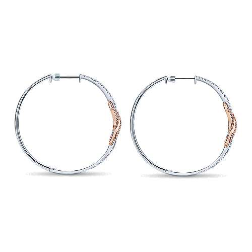 14k White/pink Gold Diamond Intricate Hoop Earrings angle 2